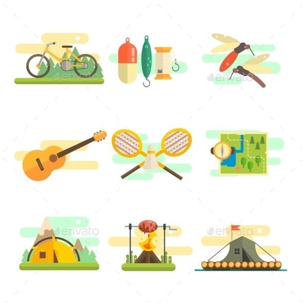Tourist Summer Equipment Set - Travel Conceptual