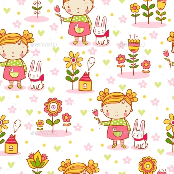 Cartoon Girl Seamless Pattern - Flowers & Plants Nature