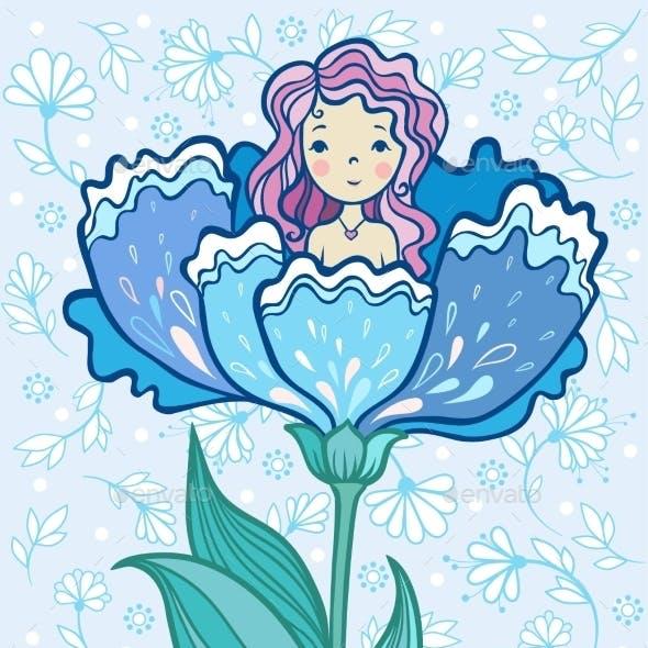Girl Sitting in a Big Flower