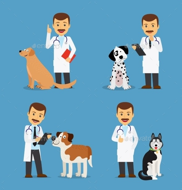 Veterinarian Doctor with Dogs - People Characters