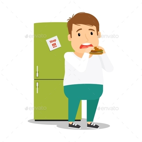 Fat Man Eating Hamburger - People Characters