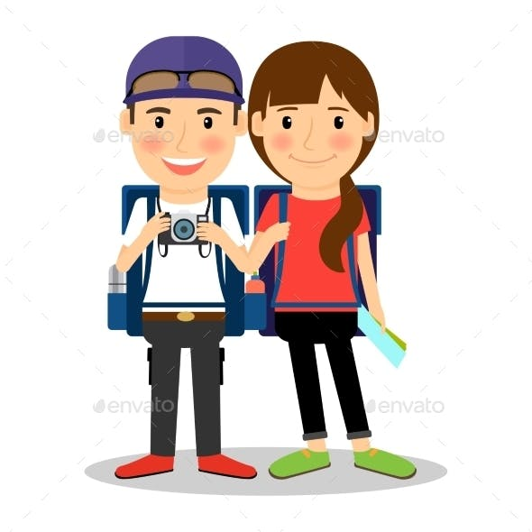 Backpackers Young Tourist Couple