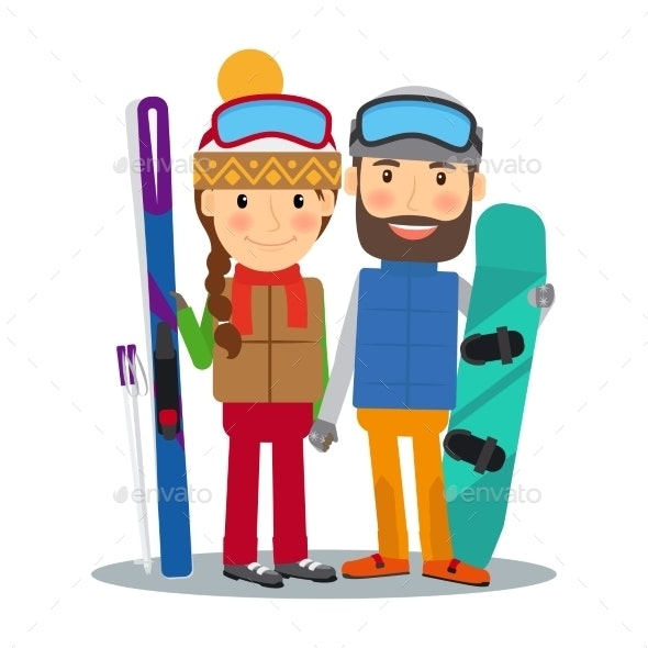 Young Couple With Ski and Snowboard - People Characters