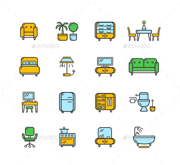 Furniture Icon Set Color - Man-made Objects Objects