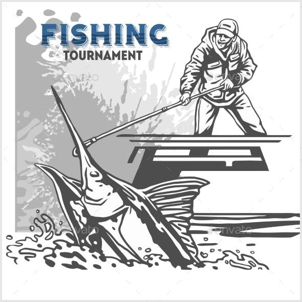 Marlin Fish in Waves - Sports/Activity Conceptual