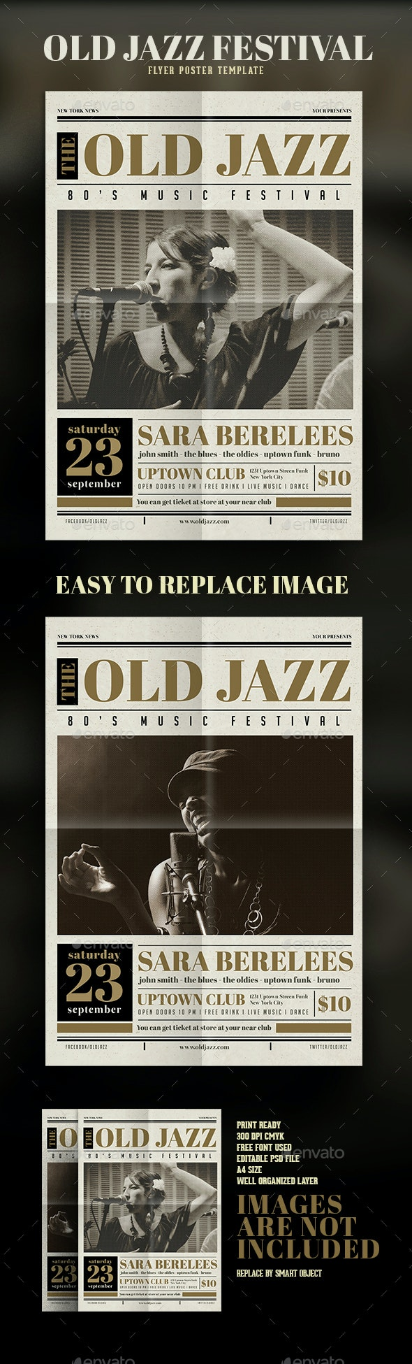 Old Newspaper Jazz Flyer - Events Flyers
