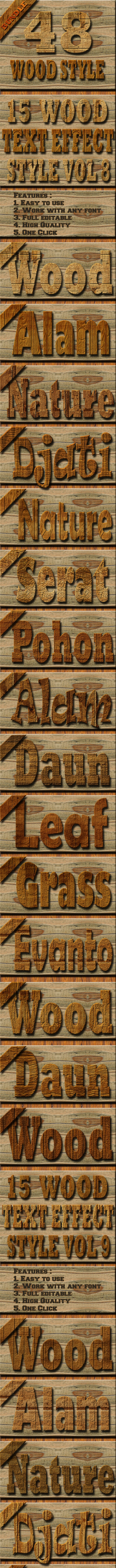 45 Wood Text Effect Style Bundle Vol 2 - Styles Photoshop