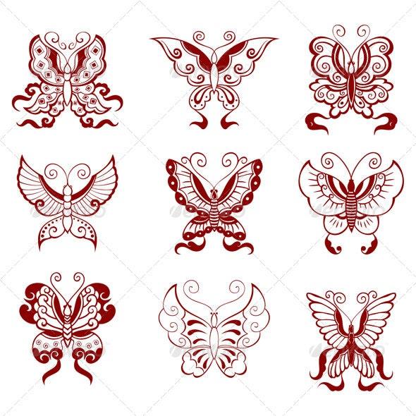 Chinese butterflies - Decorative Symbols Decorative