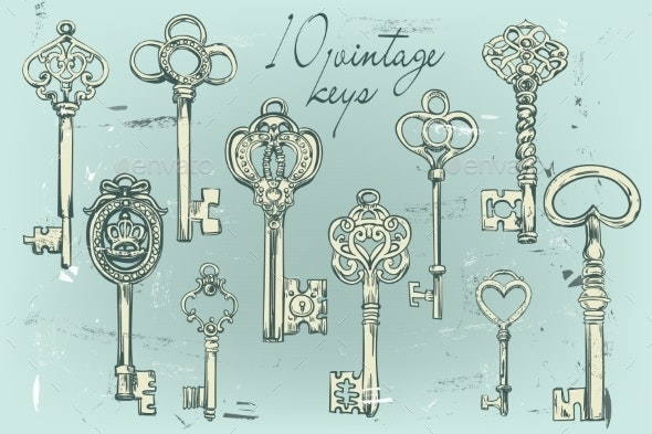 Hand-Drawn Set of Various Vintage Keys - Man-made Objects Objects