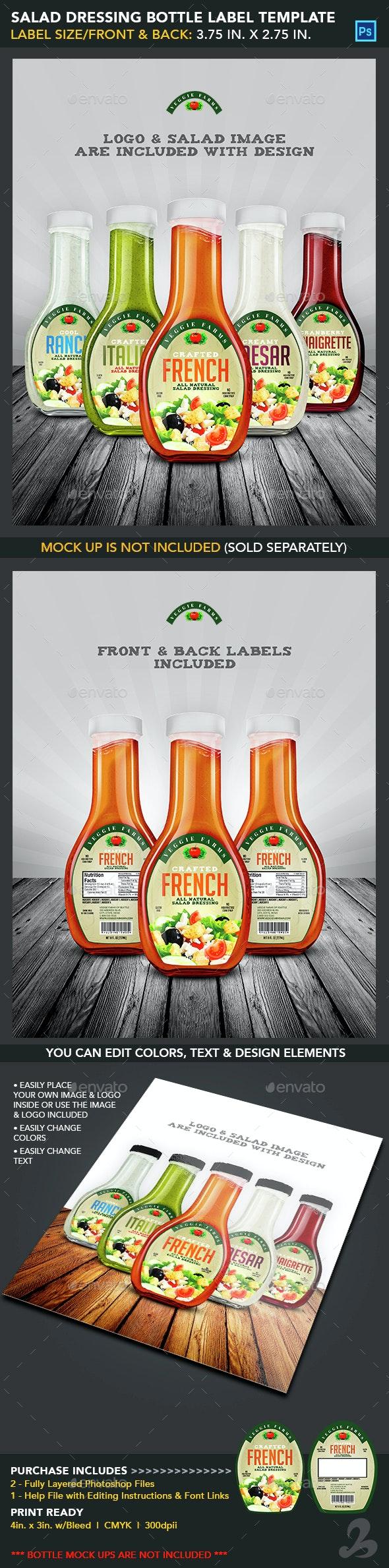 Salad Dressing Bottle Label Templates - Packaging Print Templates