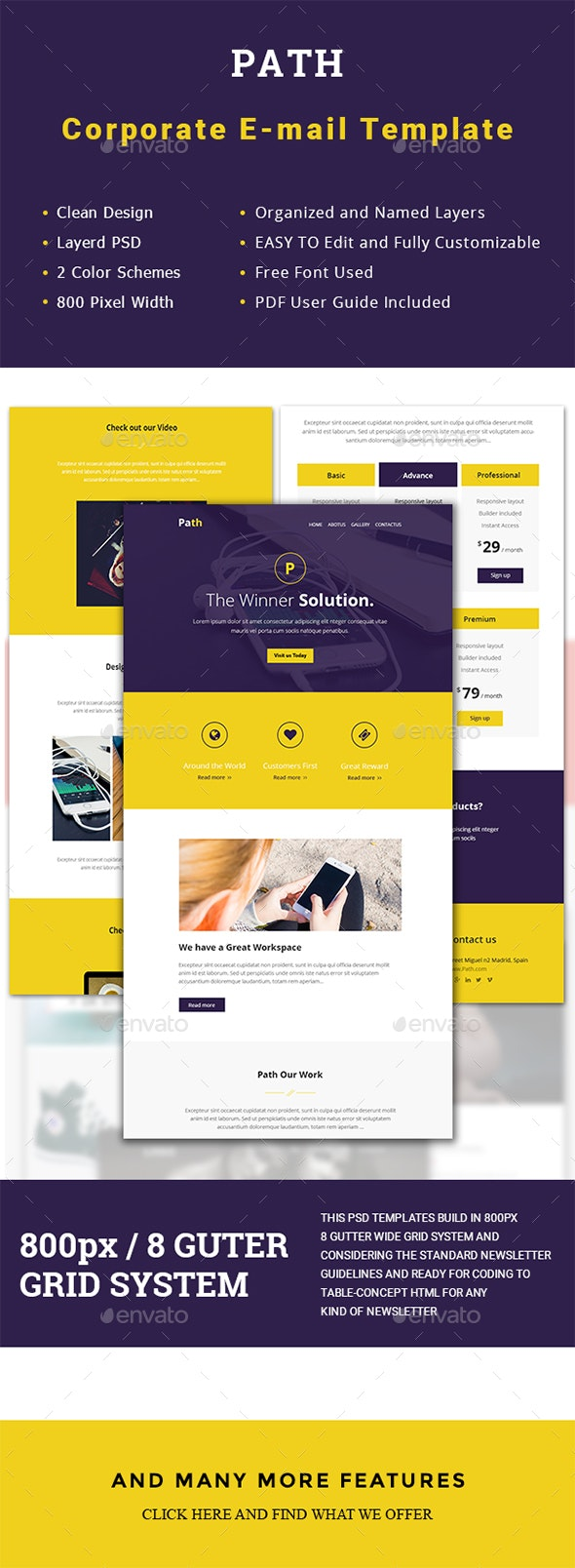 Multipurpose Path Email Template - E-newsletters Web Elements