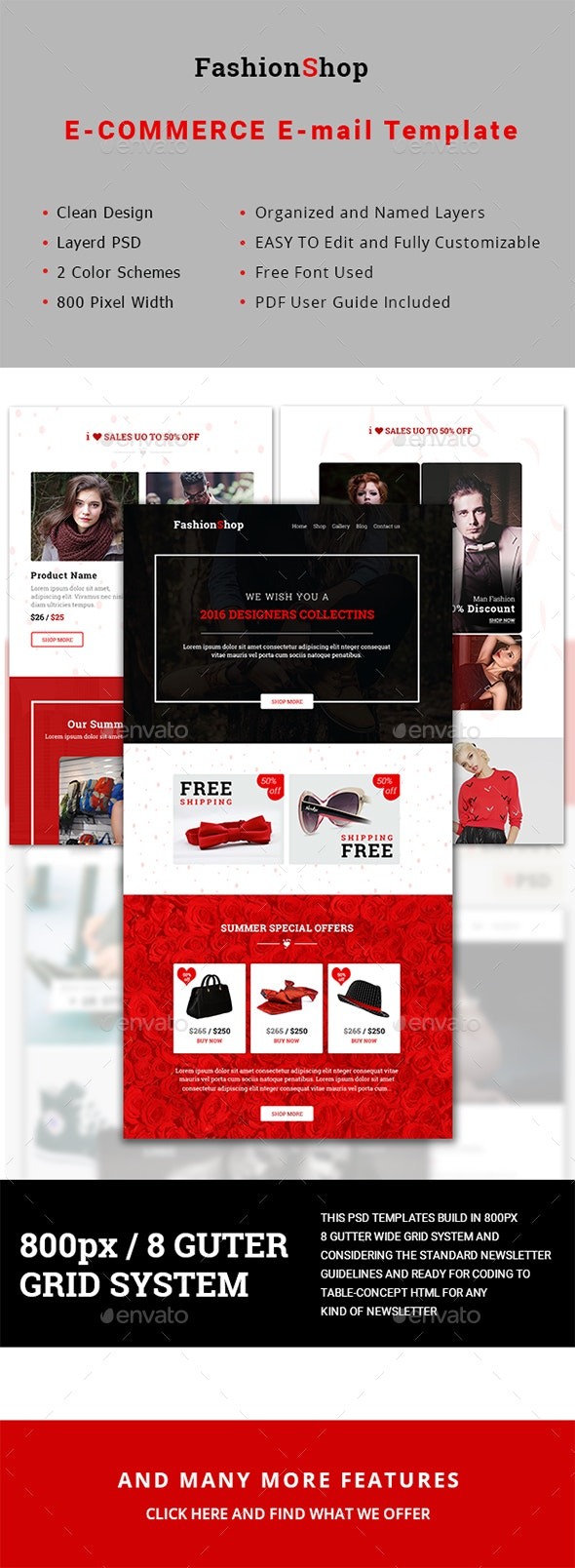 Multipurpose FashionShop Email Template - E-newsletters Web Elements