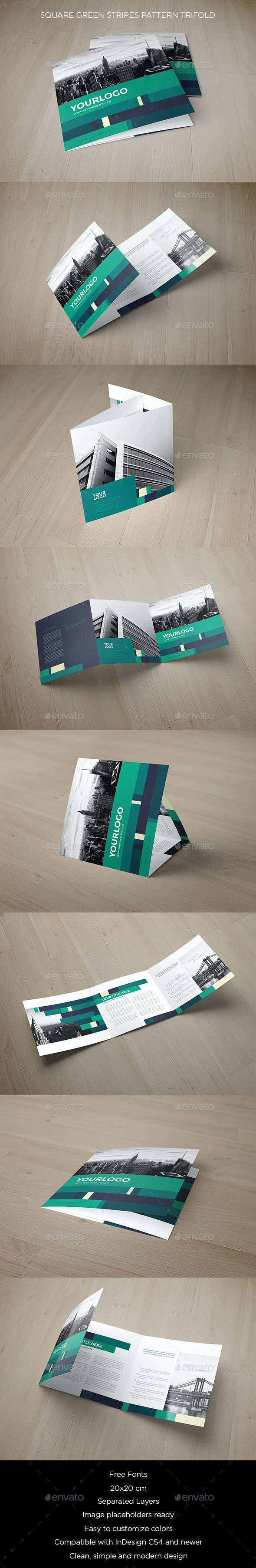 Square Green Stripes Pattern Trifold - Brochures Print Templates