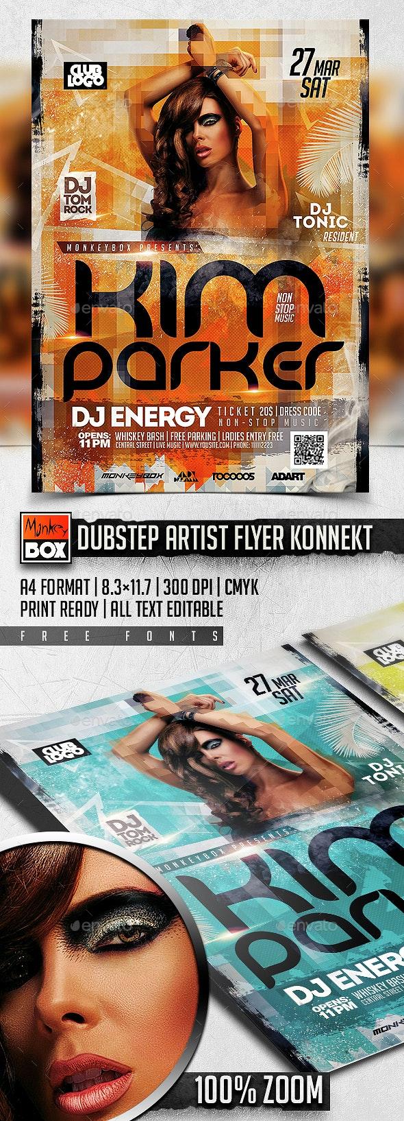 Dubstep Artist Flyer Konnekt - Flyers Print Templates
