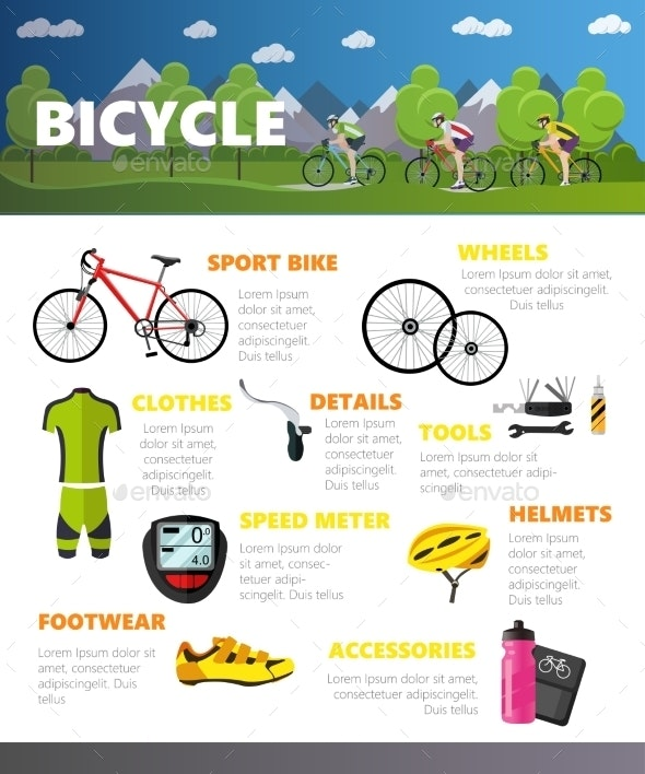 Bicycles Accessories Isolated on White Background - Sports/Activity Conceptual