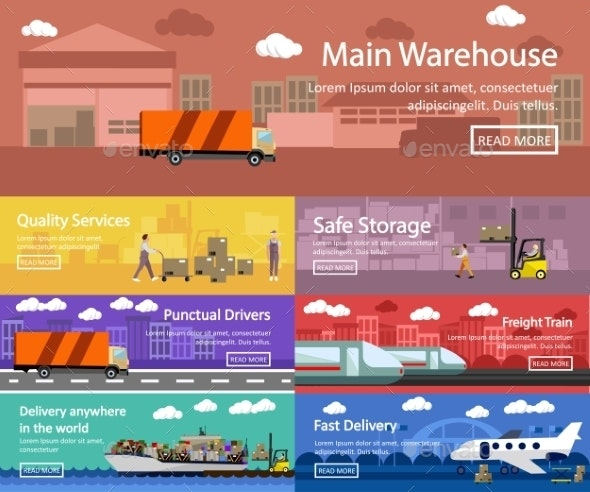 Logistic and Transportation Concept Flat Banners - Backgrounds Business