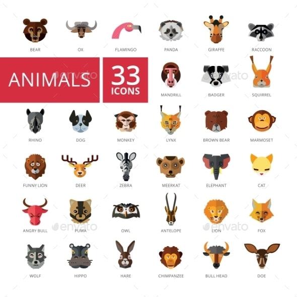 Animal Head Icons Set - Animals Characters
