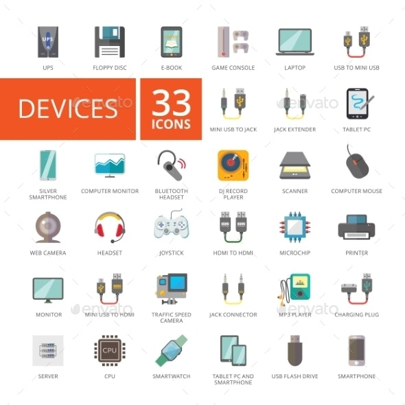 Electronic Devices Icons Set - Computers Technology