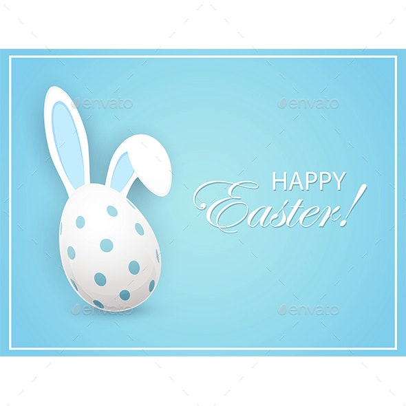 Easter Egg with Rabbit Ears on Blue Background - Miscellaneous Seasons/Holidays