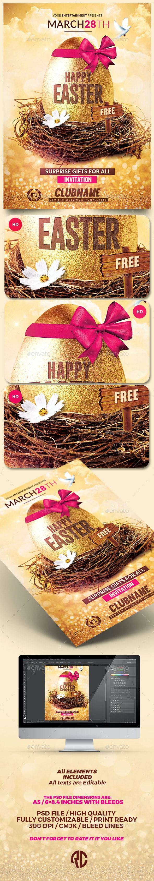 Happy Easter   Flyer Psd Template - Events Flyers