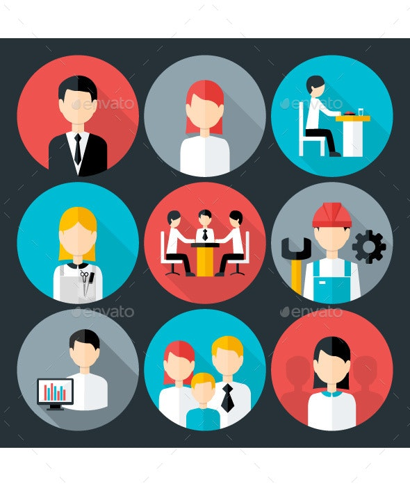 Flat Business People Icons Set - People Characters