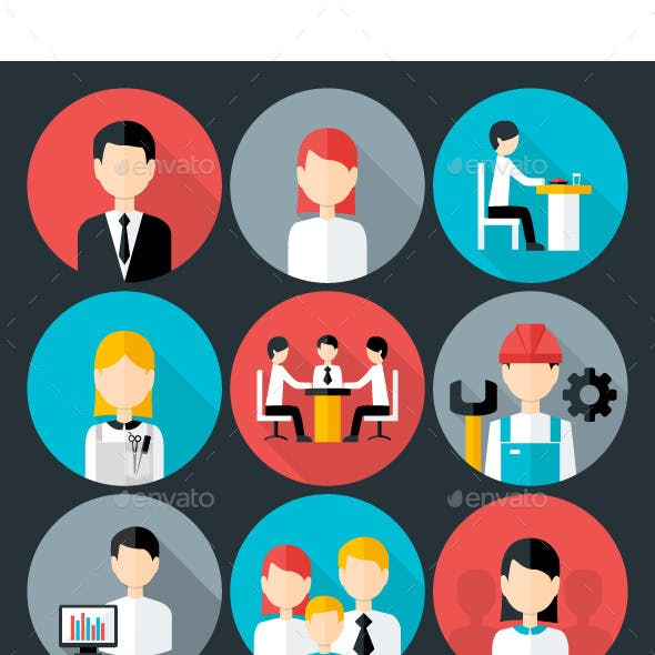 Flat Business People Icons Set