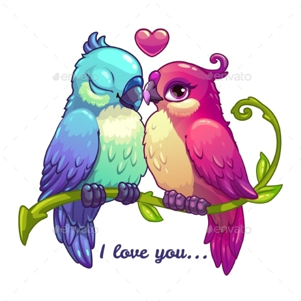Birds Couple in Love - Animals Characters