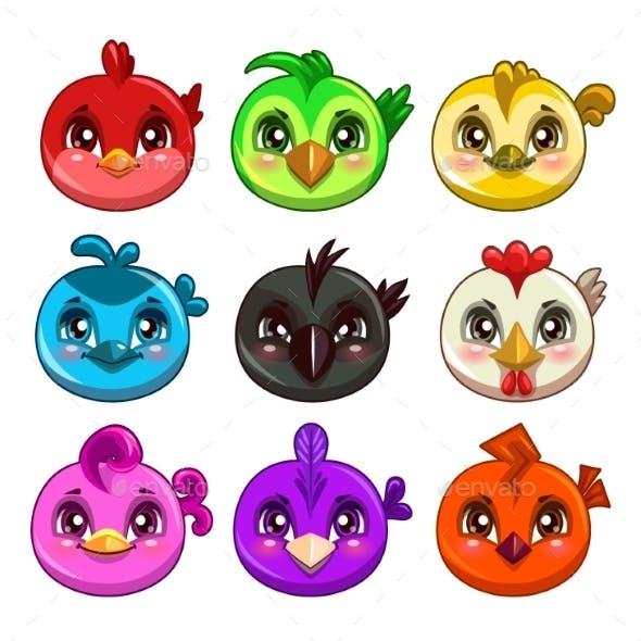 Cartoon Colorful Round Birds