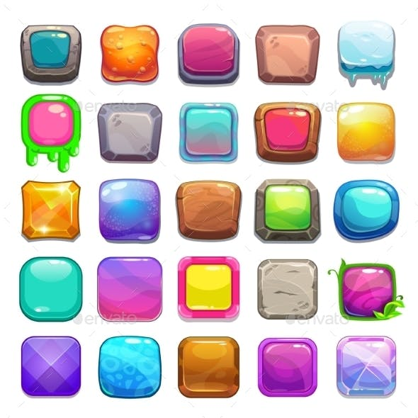 Set of Cartoon Square Buttons