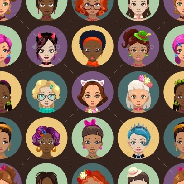 Fancy Seamless Pattern with Girls Faces - Patterns Decorative