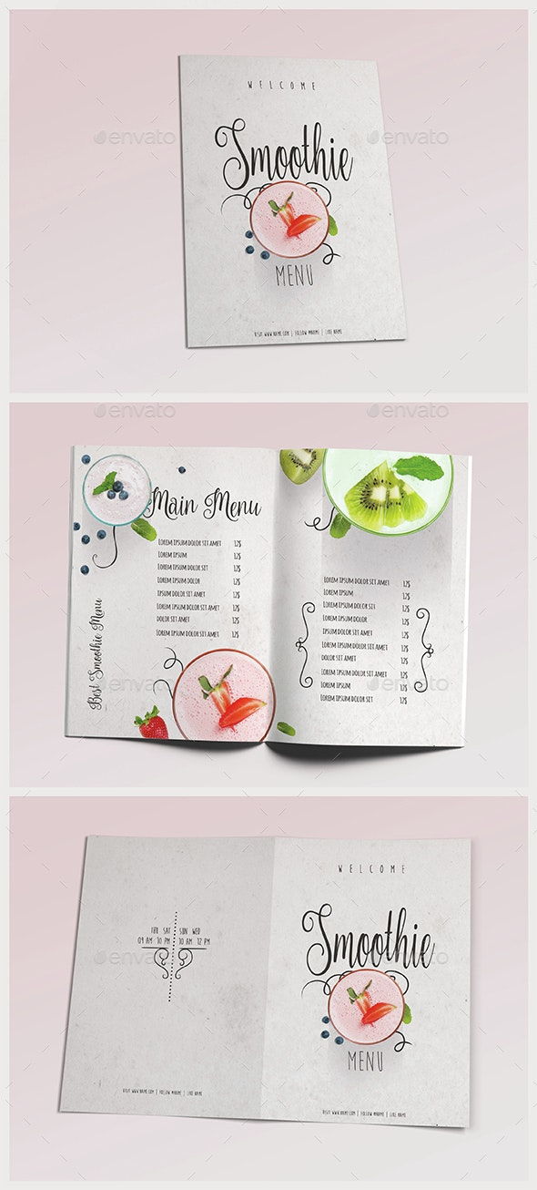 Smoothie Menu III - Food Menus Print Templates