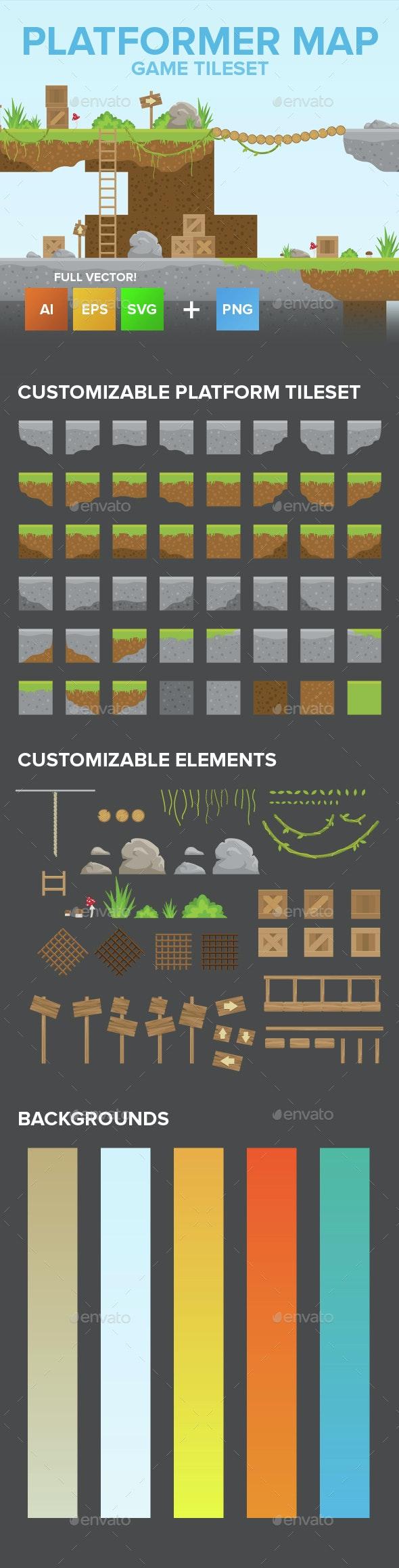 2D Game Platformer Tilesets - Tilesets Game Assets