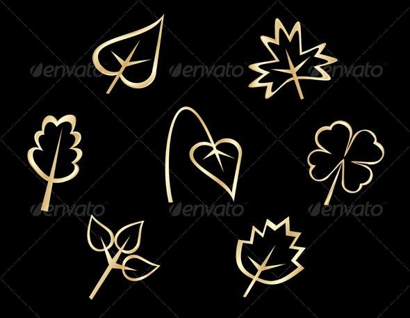 Set of leaves icons - Decorative Symbols Decorative