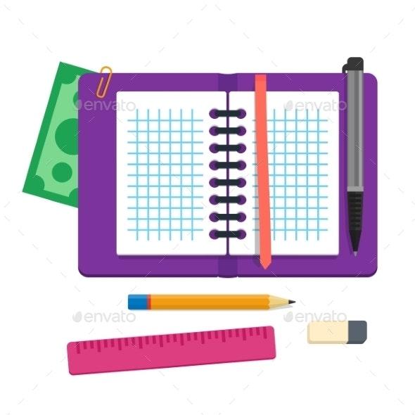 Open Spiral Binder Notebook Cell Paper - Backgrounds Business