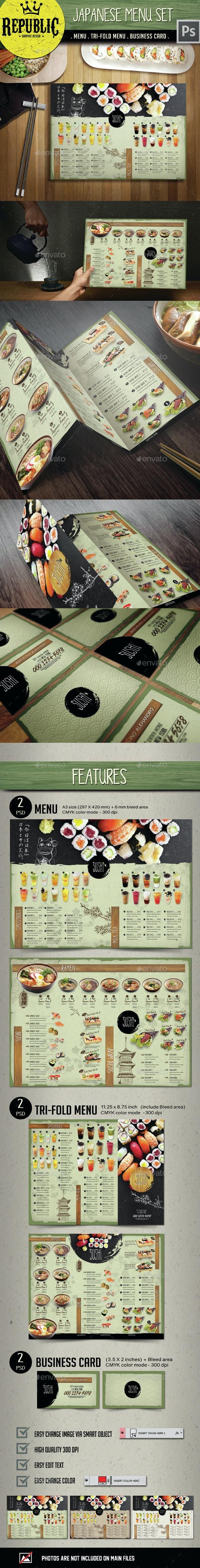 Japanese Menu Set - Food Menus Print Templates