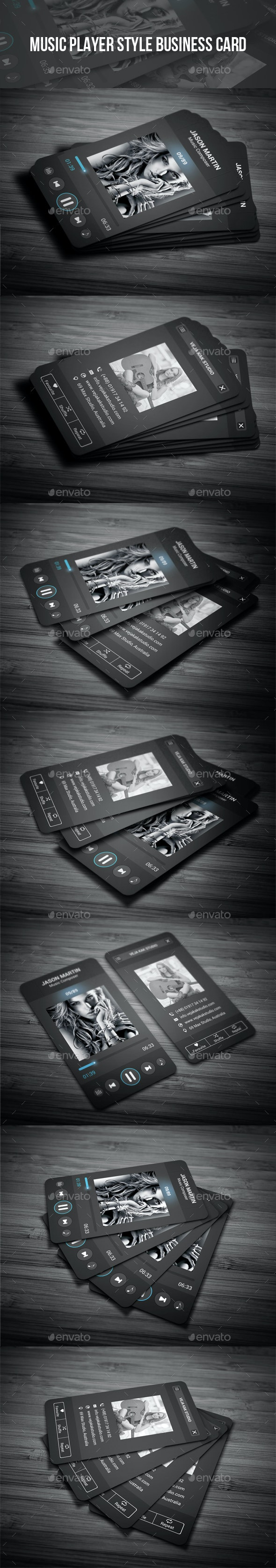 Music Player Style Business Card - Creative Business Cards
