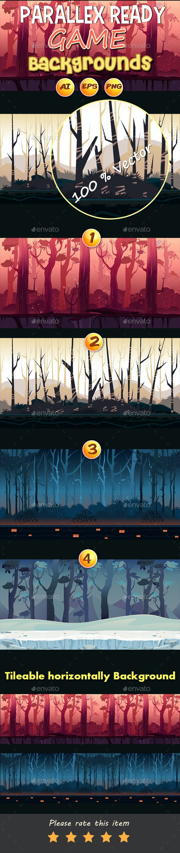 4 Jungle Game Backgrounds - Backgrounds Game Assets