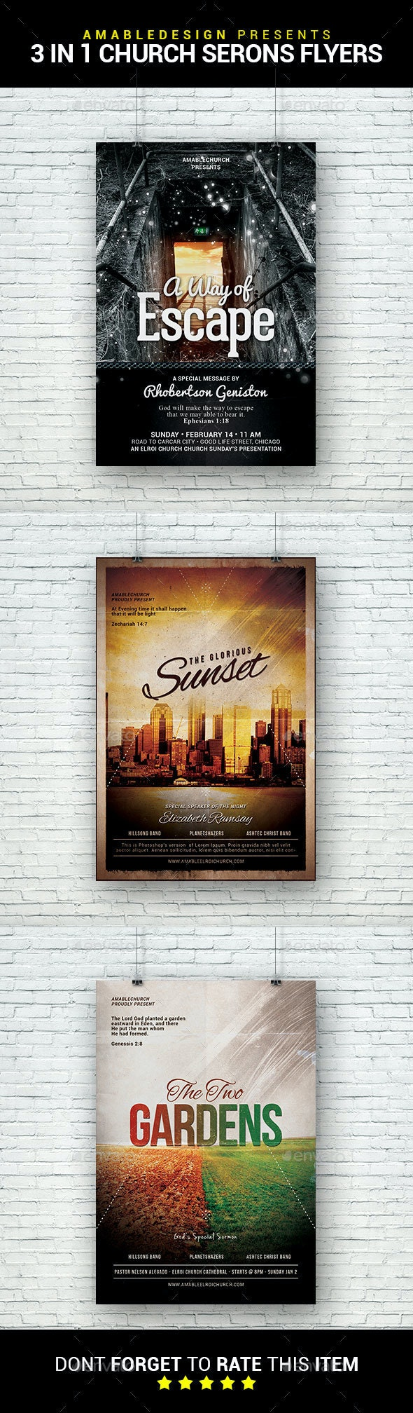 3 in 1 Church Sermons Flyer/Poster Bundle - Church Flyers