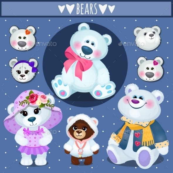 Set of White Teddy Bears - Animals Characters