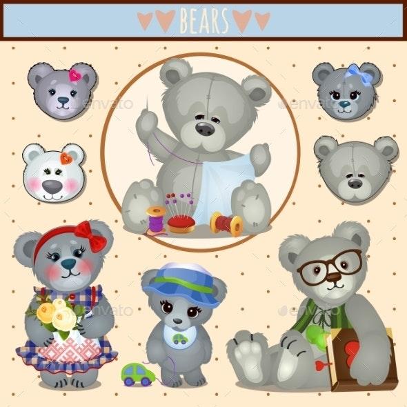 Gray Teddy Bears - Animals Characters