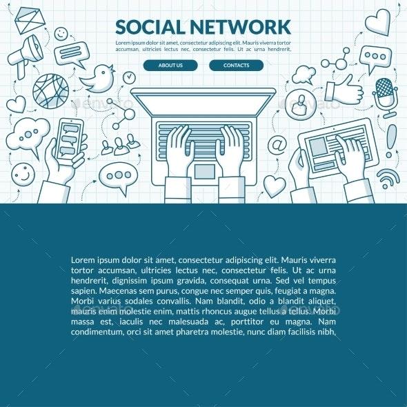 Social Network Concept Illustration - Web Technology