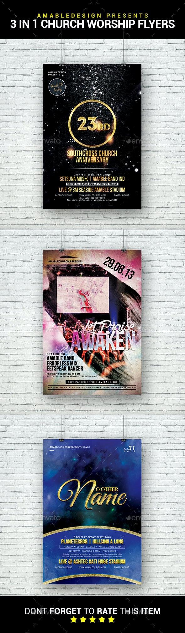 3 in 1 Church Worship Flyer/Poster Bundle - Church Flyers