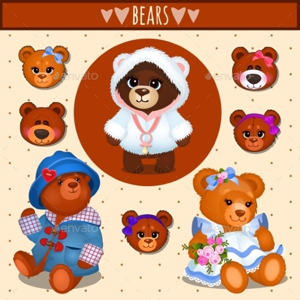 Set of Brown Teddy Bears - Animals Characters