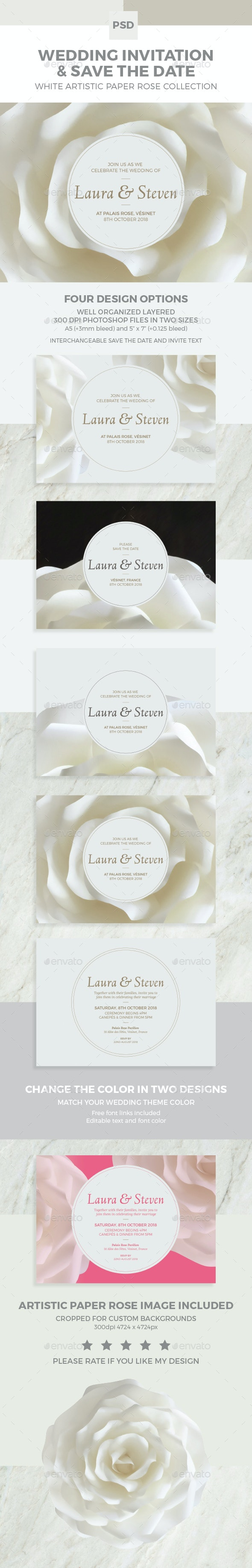 Wedding Invitation and Save the Date White Paper Rose - Weddings Cards & Invites