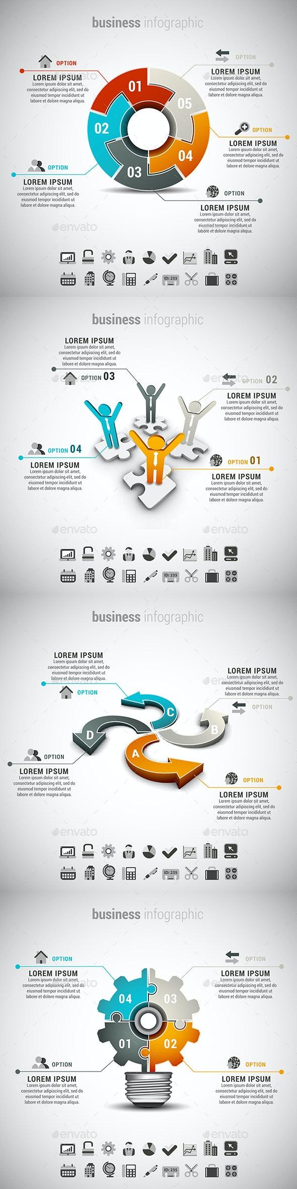 4 in 1 Business Infographics Bundle - Infographics