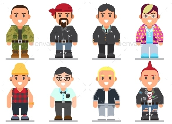 Different Subcultures Man in Flat Style - People Characters