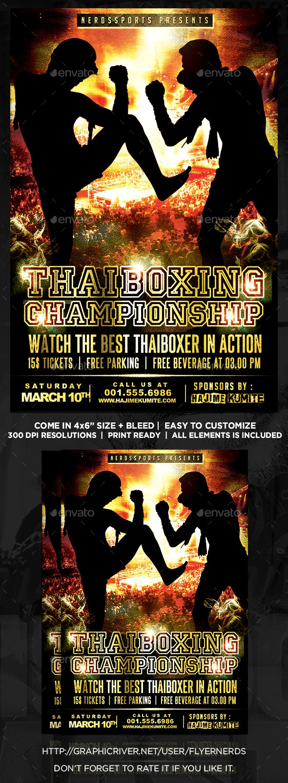 Thai Boxing Championships Sports Flyer - Sports Events