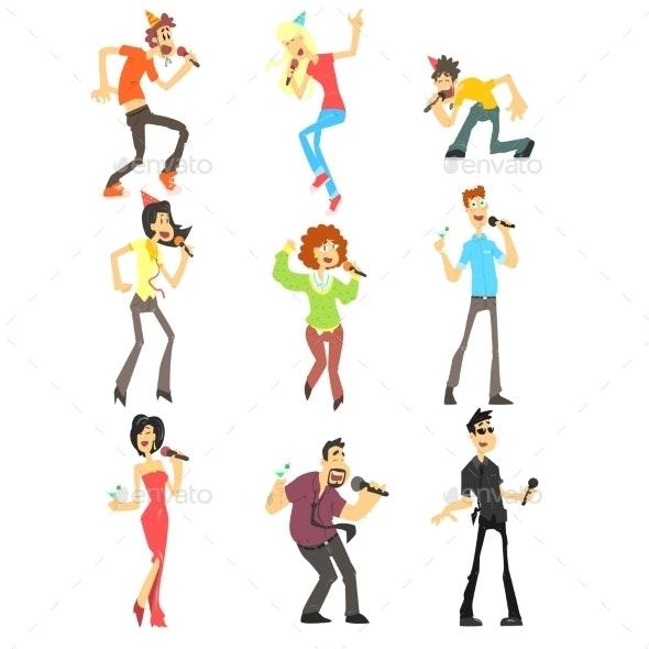People Singing Karaoke Illustration Set - People Characters