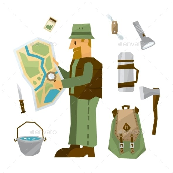 Hiking Equipment Illustration Set