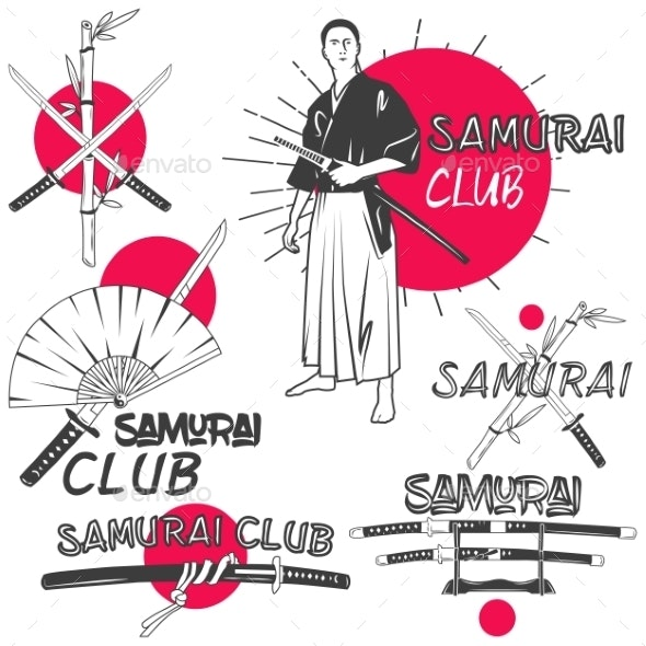 Set of Samurai Labels in Vintage Style - Man-made Objects Objects